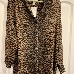 Cheetah print tunic blouse